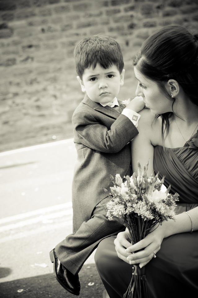 black and white wedding photograph of pageboy