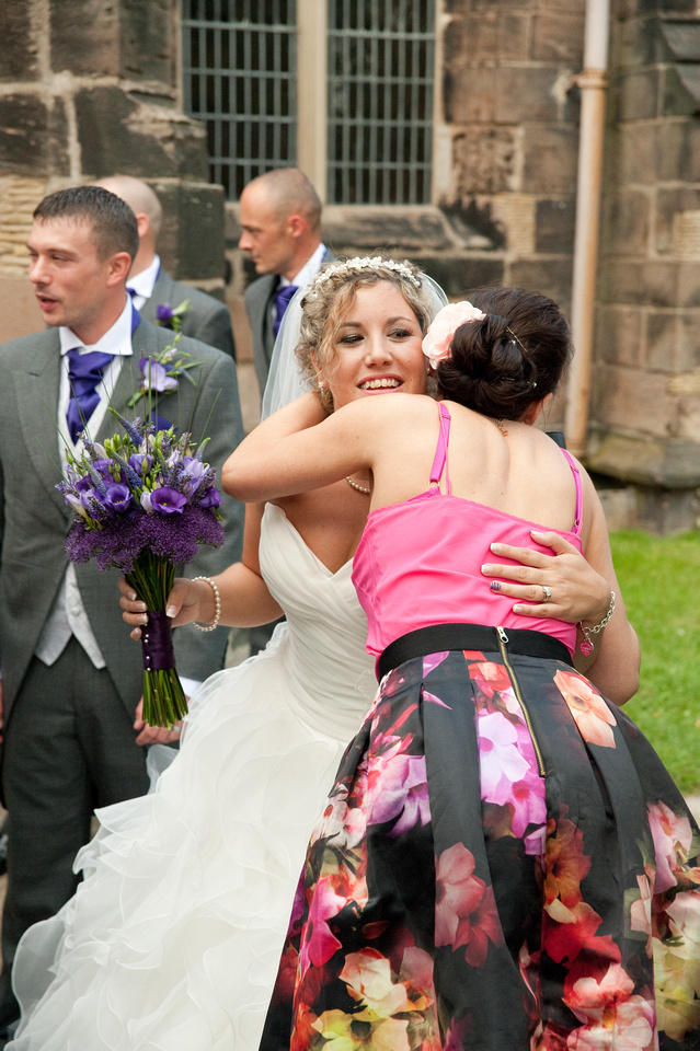 wedding photography of bride outside rotherham church