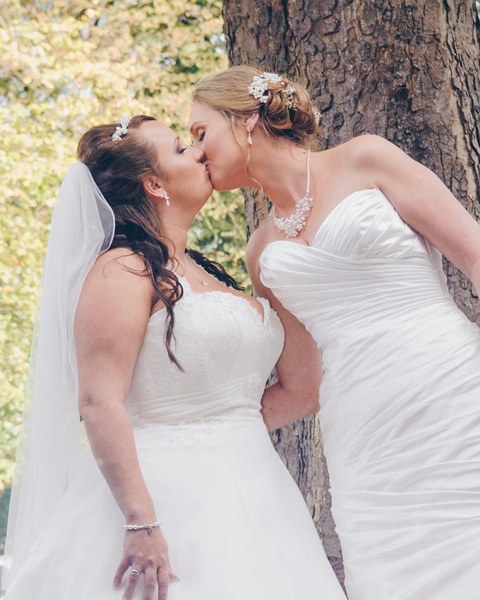 same sex wedding kiss by sheffield wedding photographer