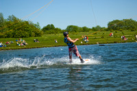 Sports photography. Cable waterski at Rother Valley Country Park in Rotherham, South Yorkshire
