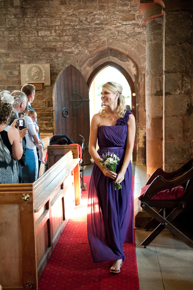 bridesmaid at Aston Church wedding in South Yorkshire