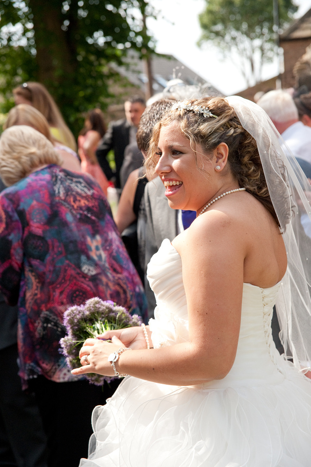 wedding picture of bride outside church in rotherham