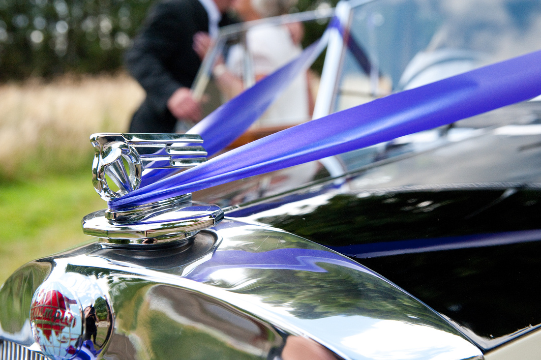 picture of wedding car at hellaby hall in rotherham