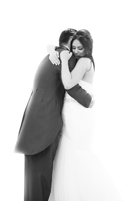 Bride and groom embracing each other at their Consort Suite wedding in Rotherham